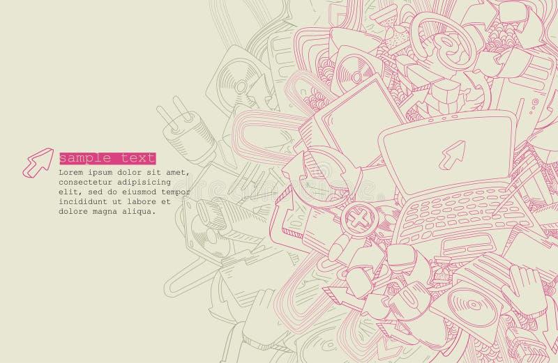 Het thema van de de tekeningscomputer van de lijn - vector royalty-vrije illustratie