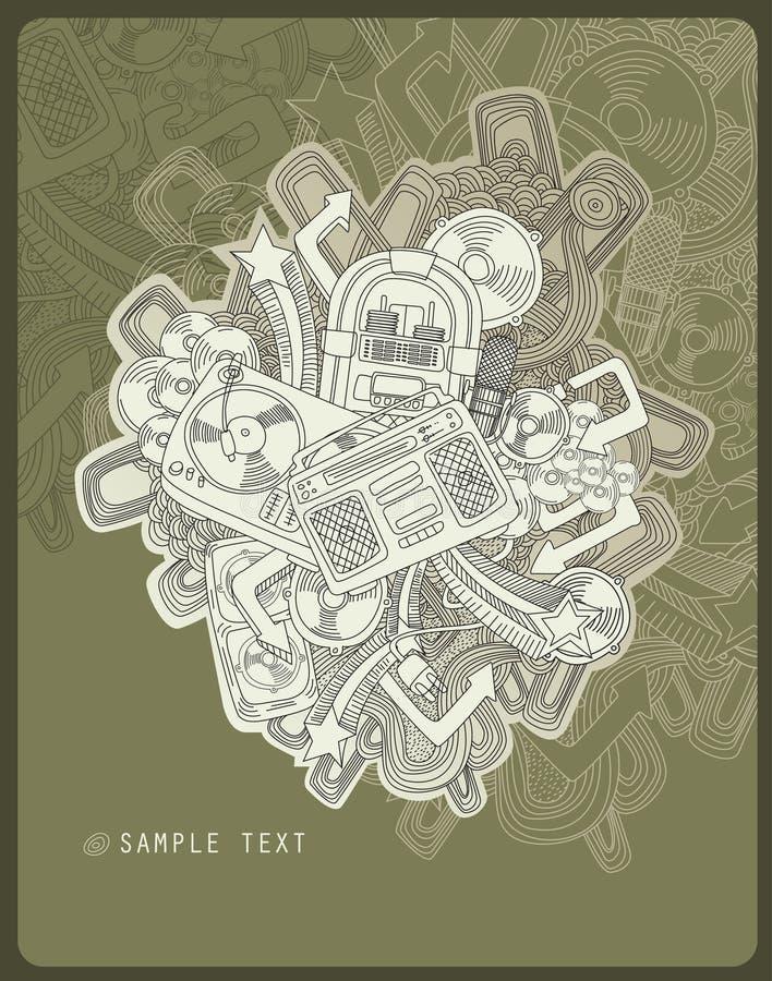 Het thema van de de tekeningsmuziek van de lijn vector illustratie