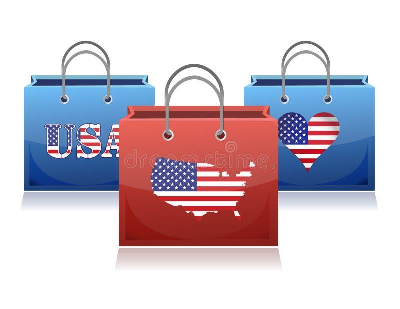 Het thema van de V.S. het winkelen zakken vector illustratie