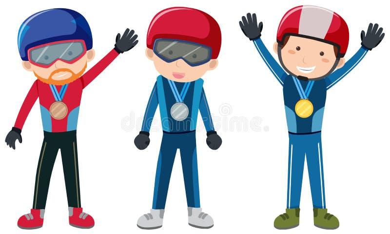 Het thema van de de wintersport met mensen en medailles vector illustratie