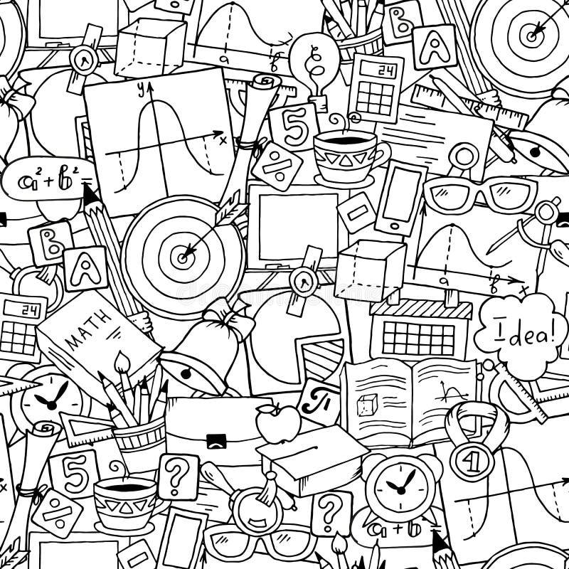 Het thema van de wiskundewetenschap Naadloos hand getrokken patroon over school en het leren De dagachtergrond van de leraar royalty-vrije illustratie