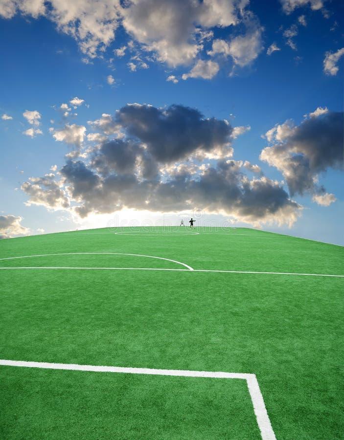 Het thema van het voetbal of van de voetbal royalty-vrije stock afbeelding