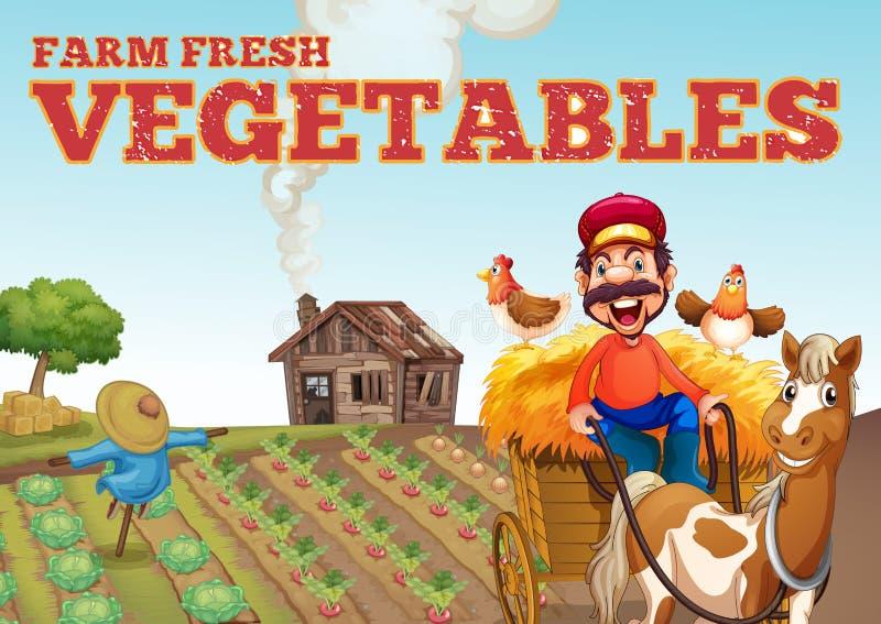 Het thema van landbouwbedrijf verse groenten vector illustratie
