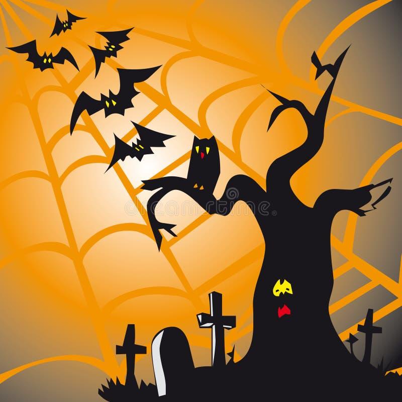 Het thema vierkante kaart van Halloween royalty-vrije illustratie