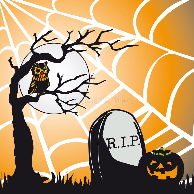 Het thema vierkante kaart van Halloween vector illustratie