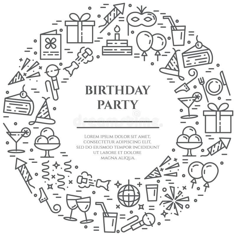 Het themabanner die van de verjaardagspartij uit lijnpictogrammen bestaan met editable slag in vorm van cirkel met exemplaarruimt stock illustratie