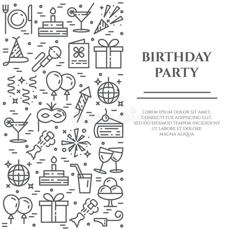 Het themabanner die van de verjaardagspartij uit lijnpictogrammen bestaan met editable slag in vorm van rechthoek vector illustratie