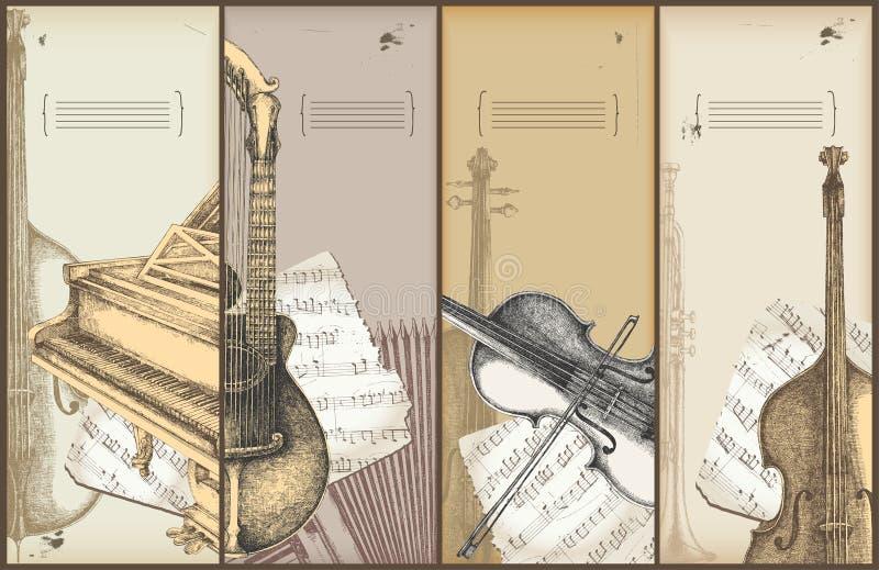 Het themabanners van de muziek - instrumenten het trekken royalty-vrije illustratie