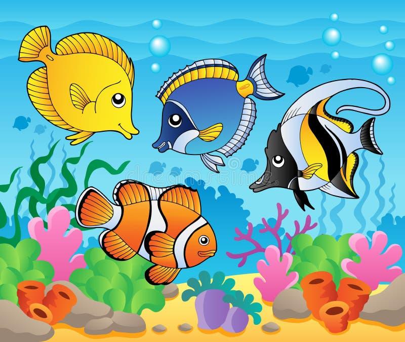 Het themabeeld 3 van vissen vector illustratie