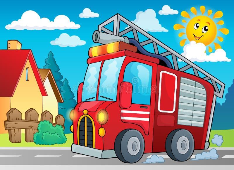 Het themabeeld 2 van de brandvrachtwagen royalty-vrije illustratie