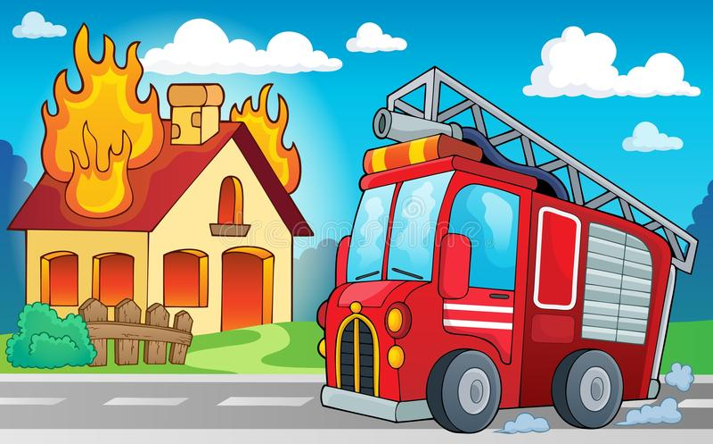 Het themabeeld 3 van de brandvrachtwagen vector illustratie