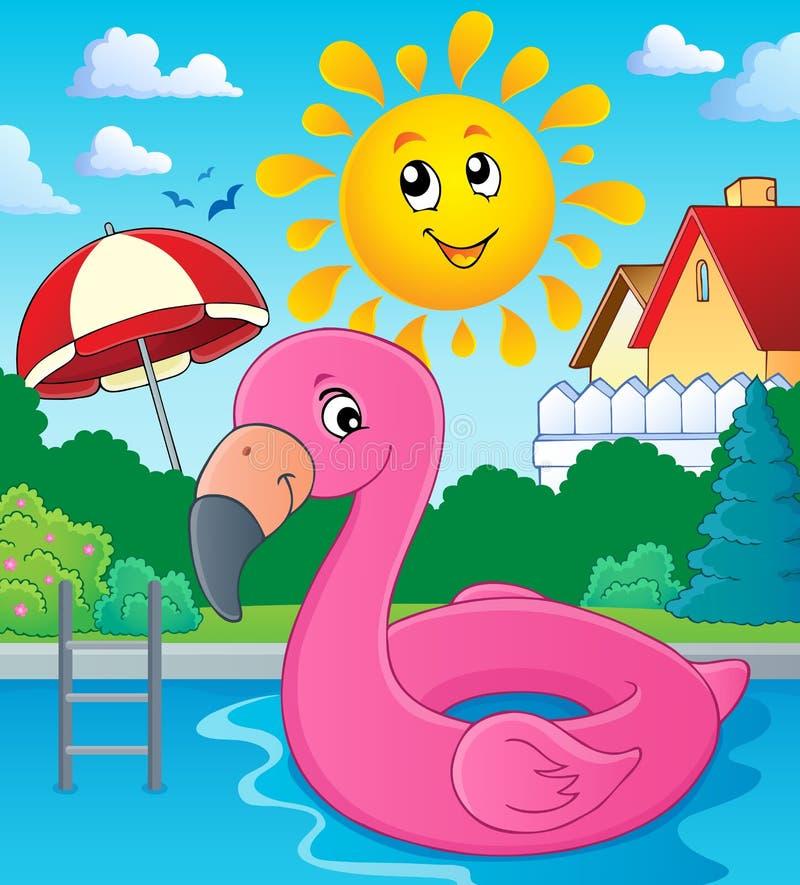 Het themabeeld 3 van de flamingovlotter vector illustratie
