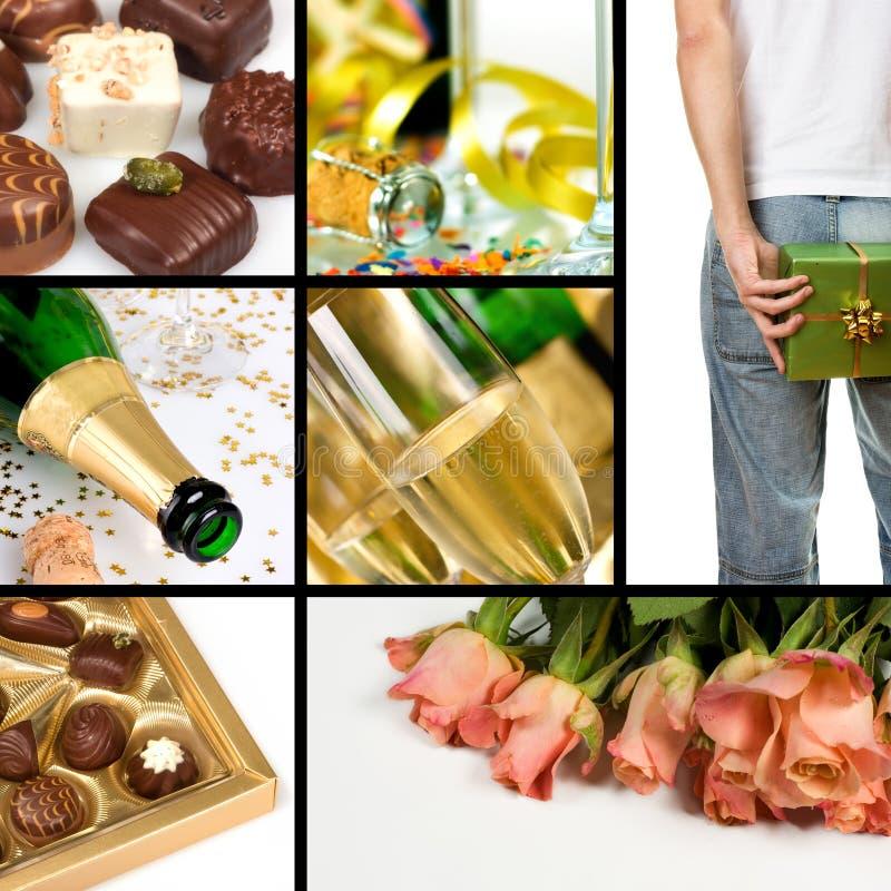 Het themacollage van de valentijnskaart stock fotografie