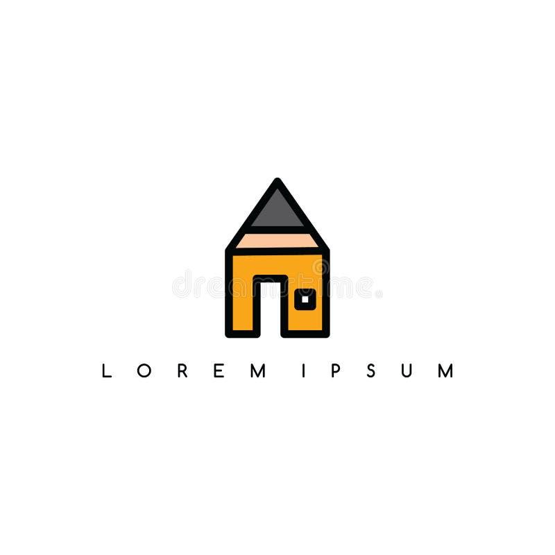 Het themaembleem van het potloodhuis logotype royalty-vrije illustratie