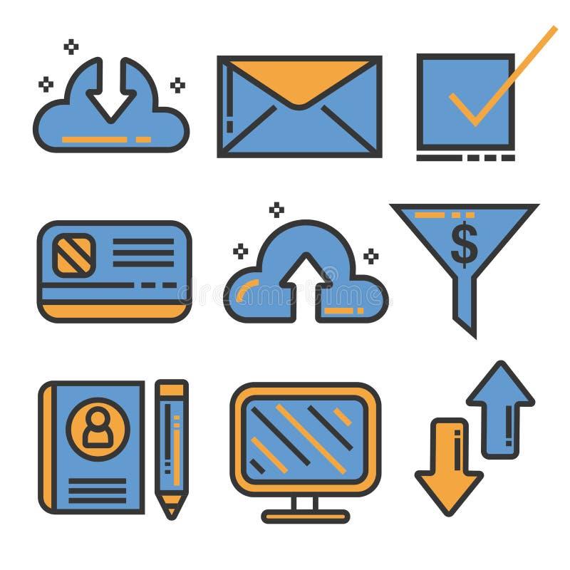 Het themareeks van de bedrijfspictogrammenlijn, illustratie vector illustratie