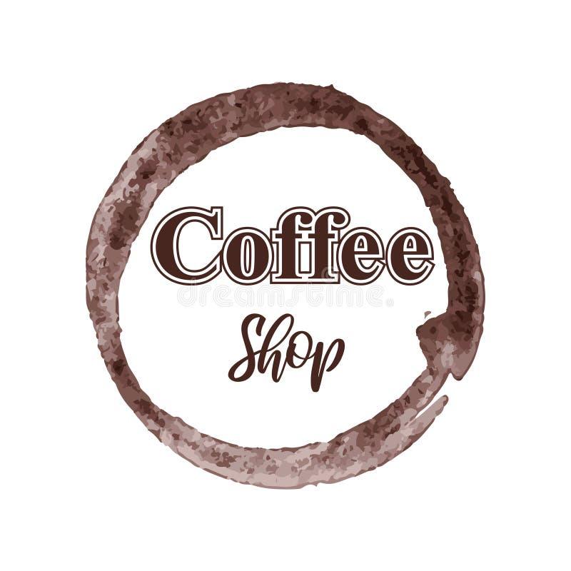 Het thematische die embleem van de koffiewinkel op witte achtergrond wordt geïsoleerd stock illustratie