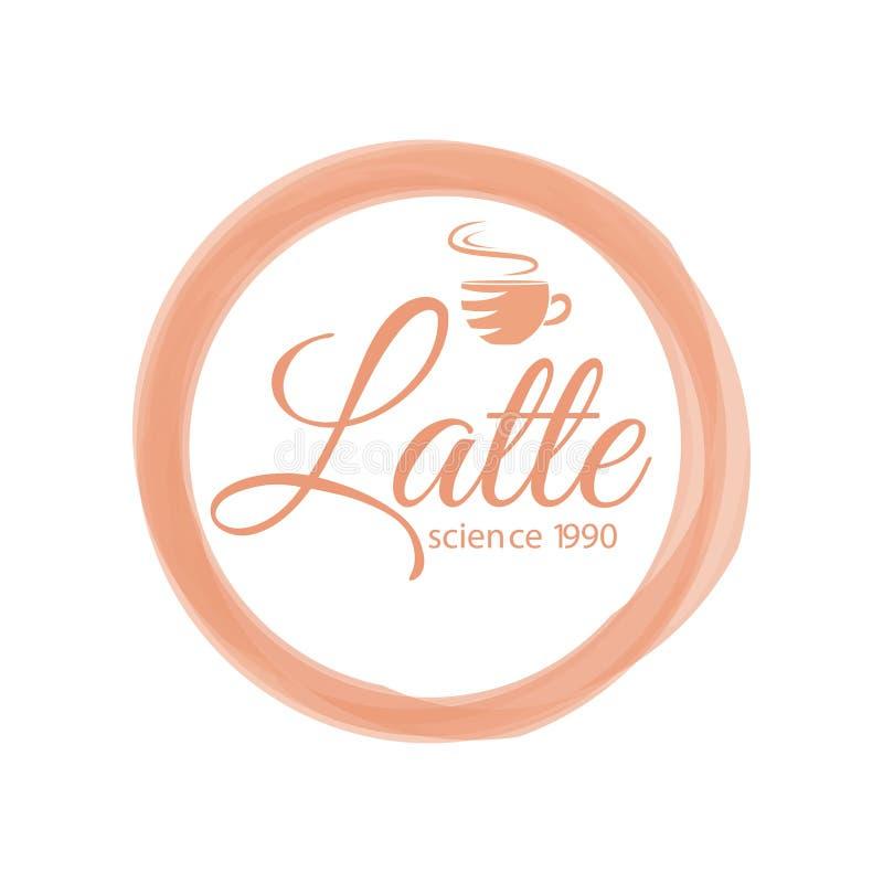 Het thematische koffieembleem met het van letters voorzien latte wetenschap 1990 verfraaide met aromacitaat van drank royalty-vrije illustratie