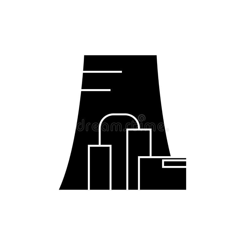 Het thermische concept van het elektrische centrale zwarte pictogram Thermisch elektrische centrale vectorteken, symbool, illustr royalty-vrije illustratie