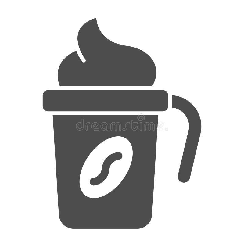 Het thermo stevige pictogram van de koffiekop De kop vectordieillustratie van de reiskoffie op wit wordt geïsoleerd Koffie met ro stock illustratie