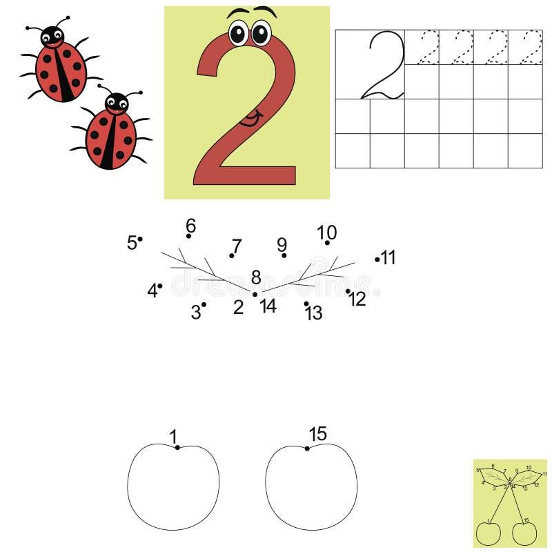 Het thuiswerk van de kinderens wiskunde Figuur twee Verbind de puntenbladeren royalty-vrije illustratie