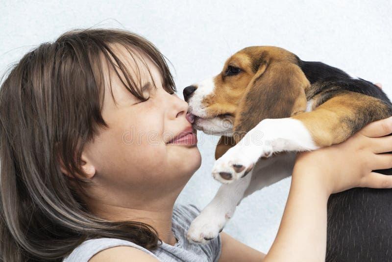 Het tienermeisje met hond, hond likt haar gezicht stock afbeeldingen