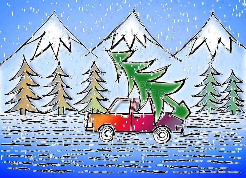 Het is tijd om de Kerstboom te doen - getrokken conceptenbeeld uit de vrije hand royalty-vrije stock afbeeldingen