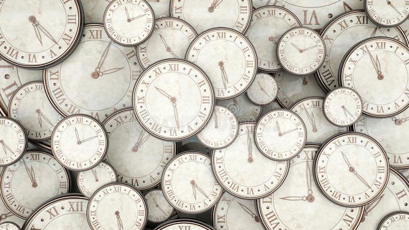 Het tijdconcept, bos van 3d horloges geeft terug vector illustratie