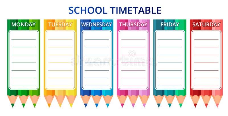 Het tijdschema van de malplaatjeschool voor studenten of leerlingen met dagen van week en vrije ruimten voor nota's Vector illust stock illustratie