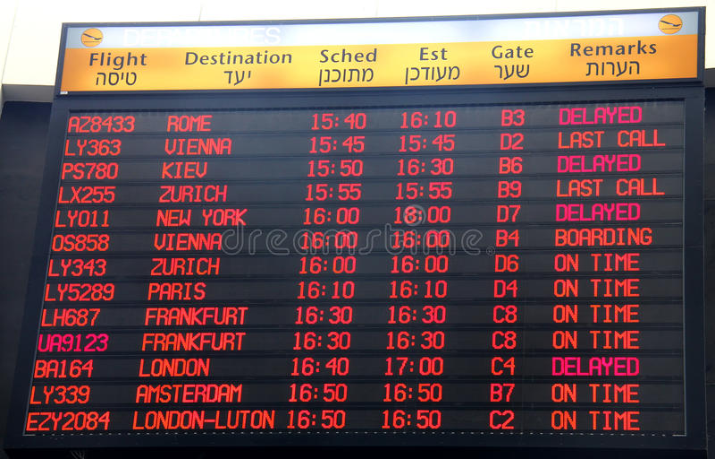 Het tijdschema van het vluchtenvertrek stock fotografie