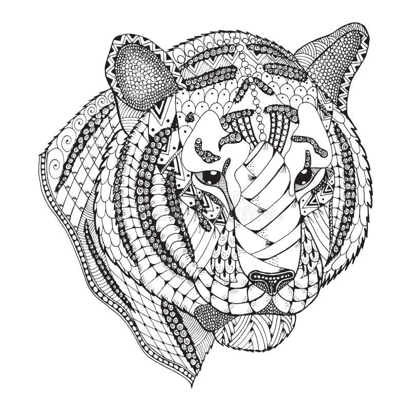 Het tijgerhoofd zentangle stileerde, vector, illustratie, patroon, Fr vector illustratie