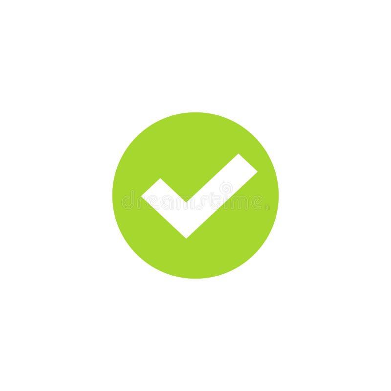 Het tikpictogram in groen cirkel vectorsymbool, groen rond die controleteken op wit wordt geïsoleerd, controleerde pictogram of c royalty-vrije illustratie