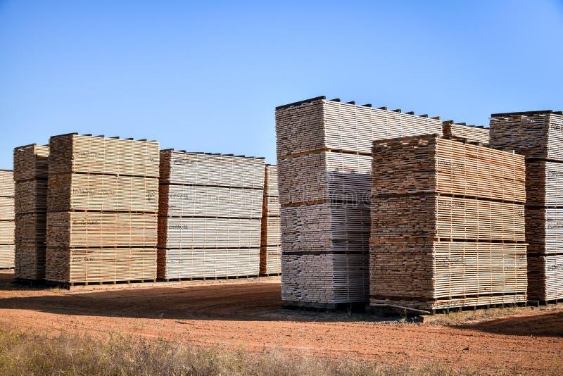 Het timmerhout stapelde klaar om aan klanten worden verscheept royalty-vrije stock afbeelding