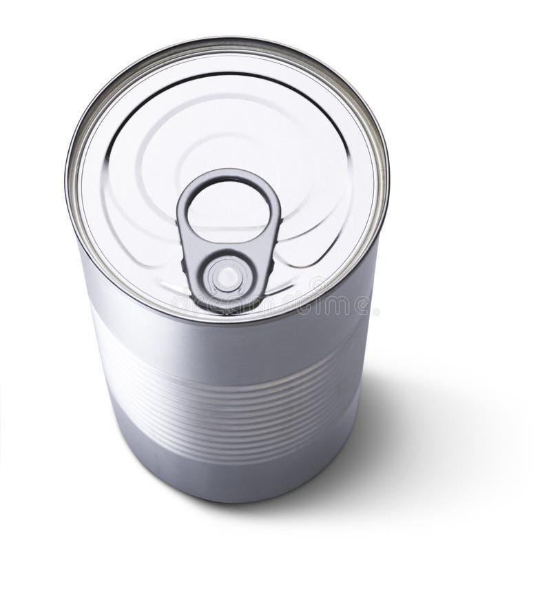 Het tin of kan hierboven geschoten van stock afbeelding