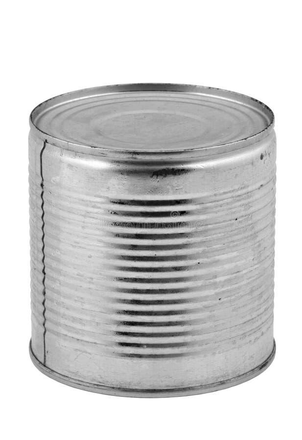 Het Tinblik Van Het Voedsel Op Wit Royalty-vrije Stock Fotografie