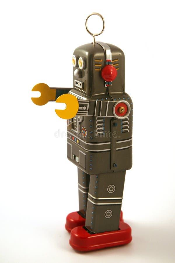 Het tinstuk speelgoed van de robot royalty-vrije stock afbeelding