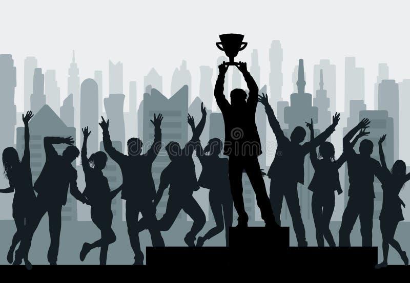 Het toejuichen van mensen en winnaarkampioenssilhouet met winnaar` s kop royalty-vrije illustratie