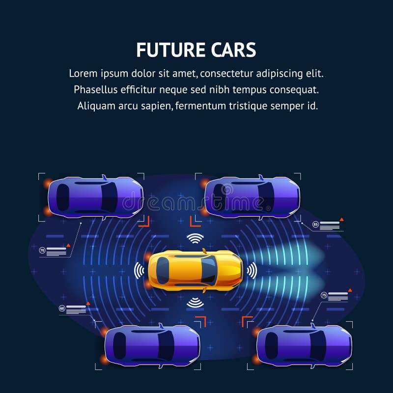 Het toekomstige Systeem van het Auto'sverkeer Illustratiebanner stock illustratie