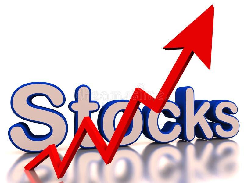 Het toenemen voorraden met rode pijl stock illustratie