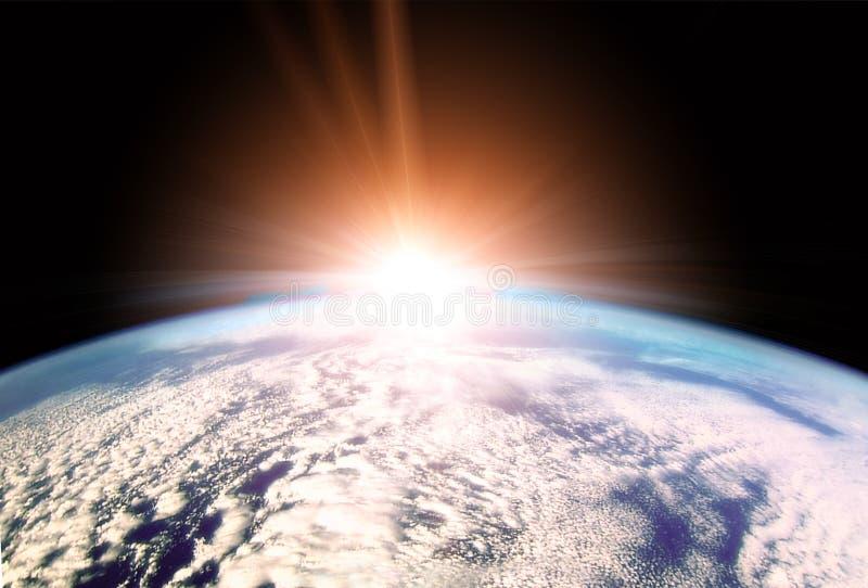 Het toenemen Zon over Aardehorizon stock illustratie