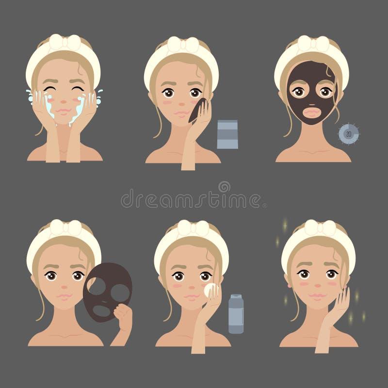 Het toepassen van gezichtsmaskerstappen het bevochtigen en acne royalty-vrije illustratie
