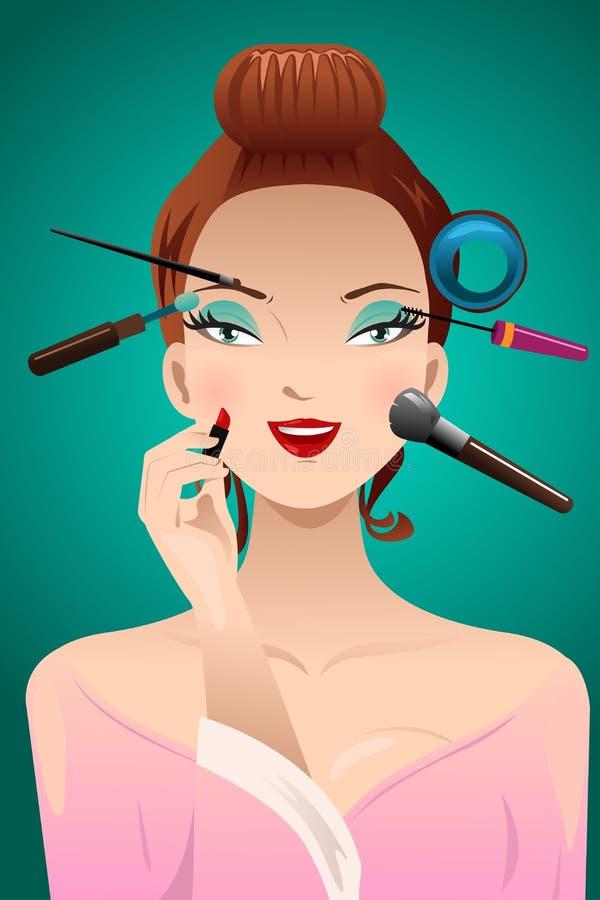 Het toepassen van make-up op een vrouwenhoofd vector illustratie