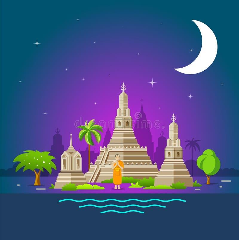 Het toerismeoriëntatiepunten van Thailand, heilige plaats van Thailand royalty-vrije illustratie