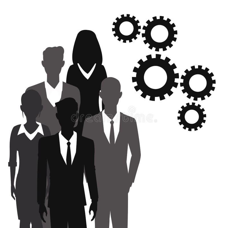 Het toestel van het bedrijfsmensengroepswerk samen stock illustratie