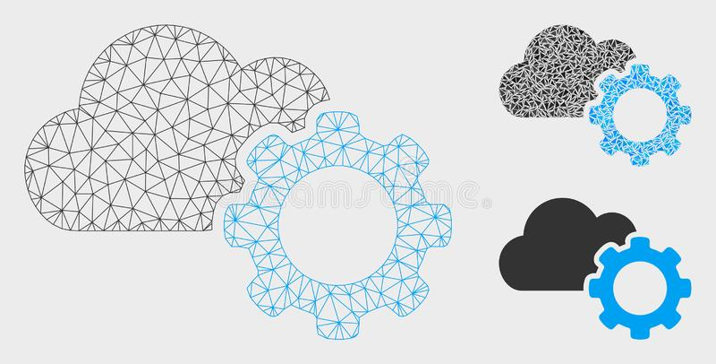 Het Toestel Vector het Mozaïekpictogram van Mesh Wire Frame Model van wolkenopties en van de Driehoek royalty-vrije illustratie