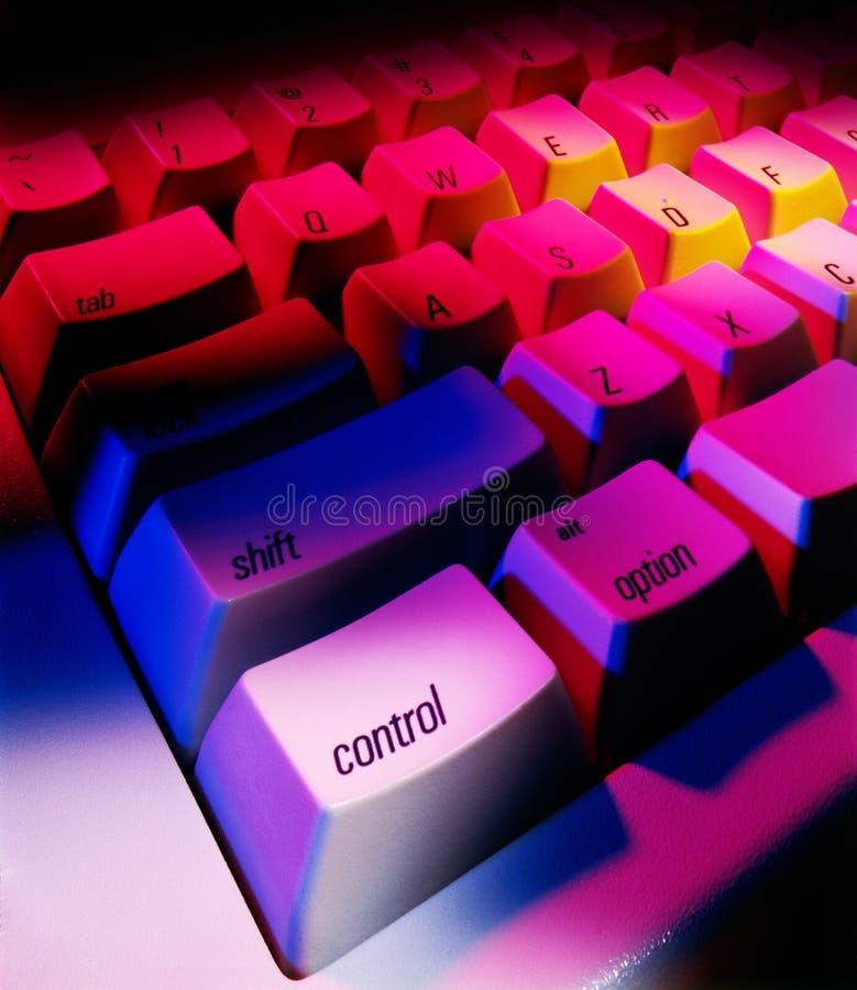 Het toetsenbord dichte omhooggaand van de computer met controlesleutel stock fotografie