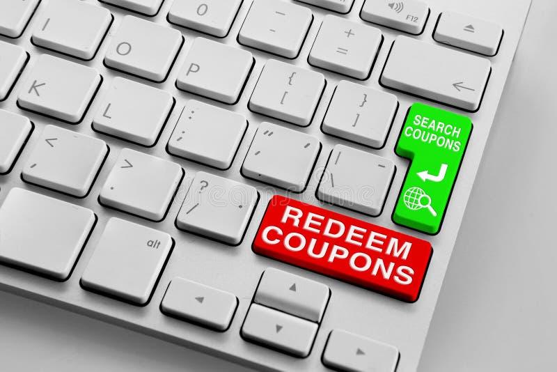 Het toetsenbord met rood koopt coupons en de groene knopen van onderzoekscoupons terug vector illustratie