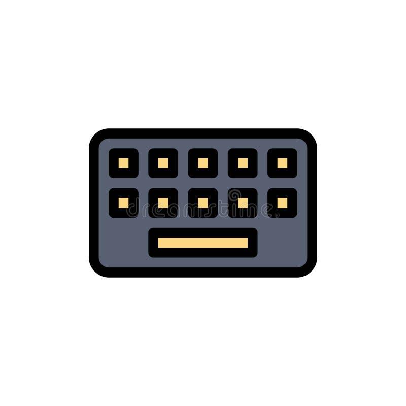 Het toetsenbord, het Typen, Raad, sluit Vlak Kleurenpictogram Het vectormalplaatje van de pictogrambanner stock illustratie