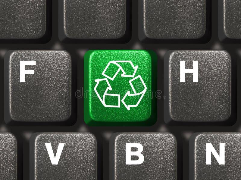 Het toetsenbord van de computer met het recycling van symbool stock foto's