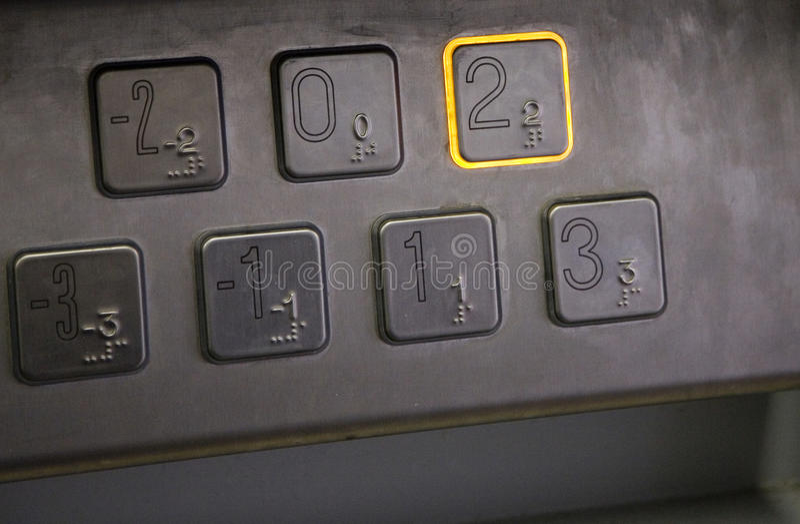 Het toetsenbord van de lift stock afbeeldingen