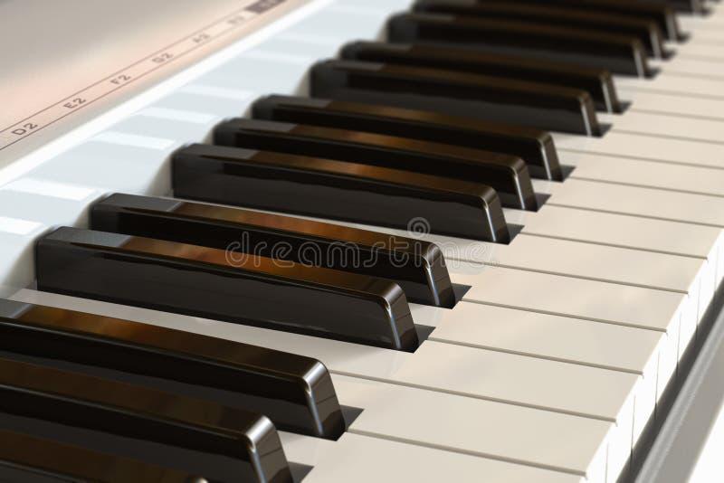 Het toetsenbord van de piano met selectief nadrukeffect vector illustratie